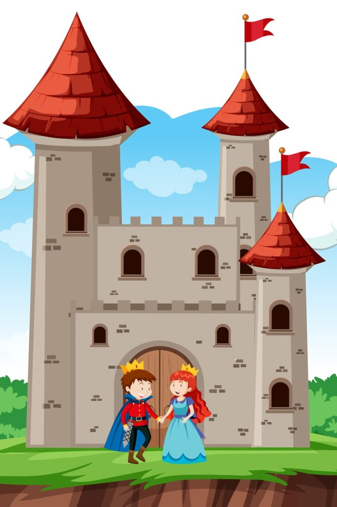 Prince and princess at castle illustration
